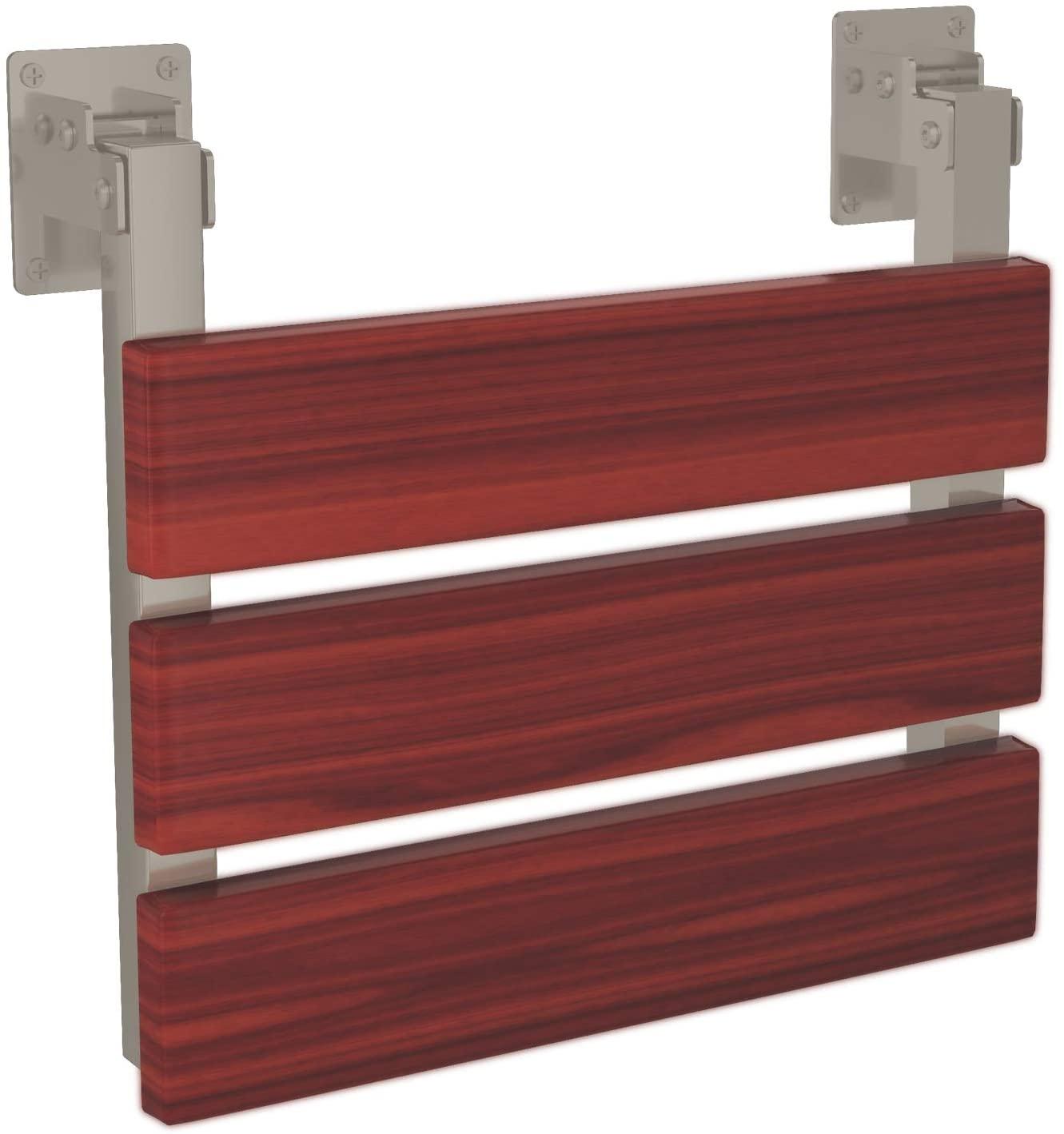 PULSE Showerspas 4008-SSP ErgoSeat II, ADA Compliant Bamboo Shower Seat, Polished Stainless Steel