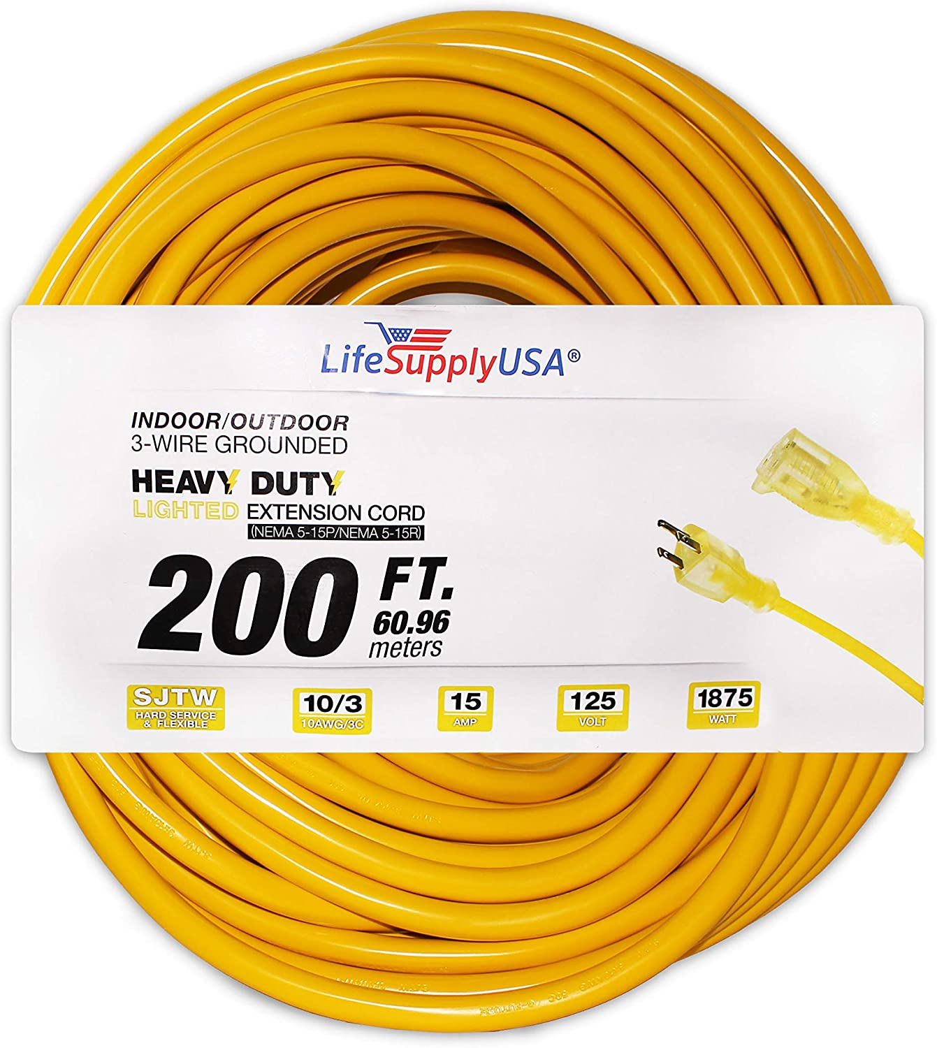 LifeSupplyUSA 10 Pack - 10/3 200 ft SJT Lighted End Extension Cord 15 Amp, 300 Volt, 1875 Watt, Super Heavy Duty Outdoor Jacket (200 feet)
