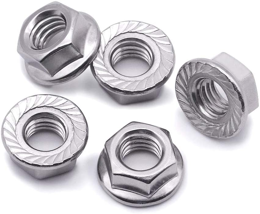 1/4-20 Serrated Flange Hex Lock Nuts, Bright Finish,304 Stainless Steel 18-8, 50 PCS by Eastlo Fastener