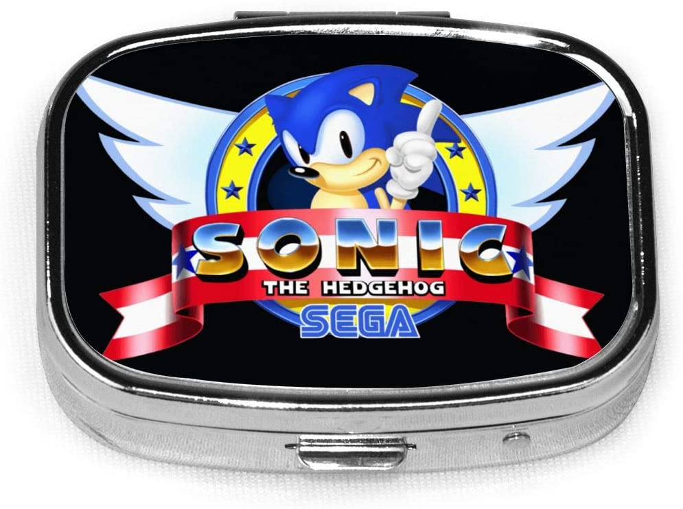 Wehoiweh Sonic The Hedgehog 2.2x1.6x0.7 Inch Mini Medicine Box, Full Size Printing is Easy to Carry
