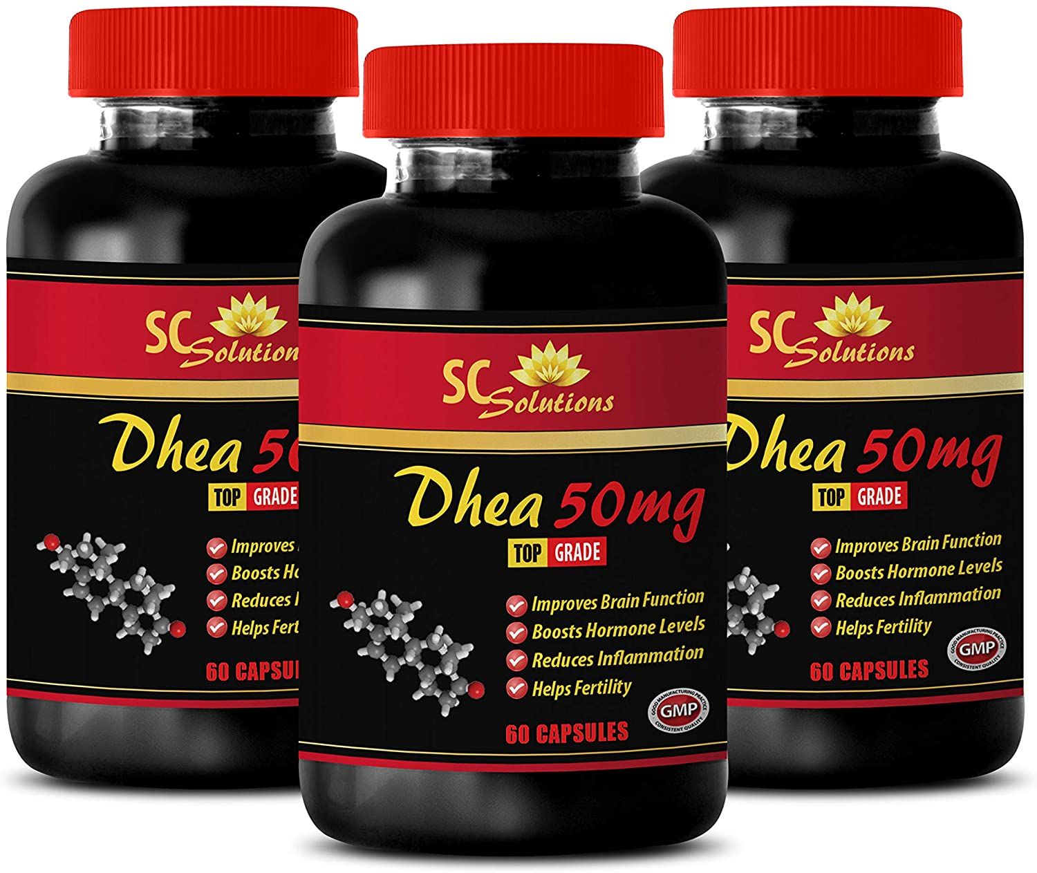 Testosterone Supplements - DHEA (Dehydroepiandrosterone) - Dhea for Women - 3 Bottles 180 Capsules