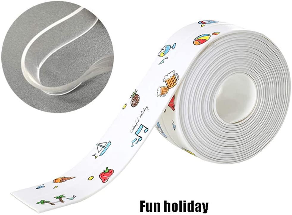 AMAZOM Caulk Strip Flex Seal Tape Caulk Flexible Waterproof Tape for Kitchen Bathroom Tub Shower Floor Wall Edge Protector 2Pcs (3203.8Cm),Colorful Holidays