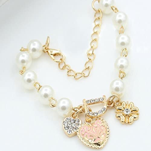 888 Easy Shop Fashion Gold Women's Jewelry Crystal Heart Bangle Pearl Bracelet Hot