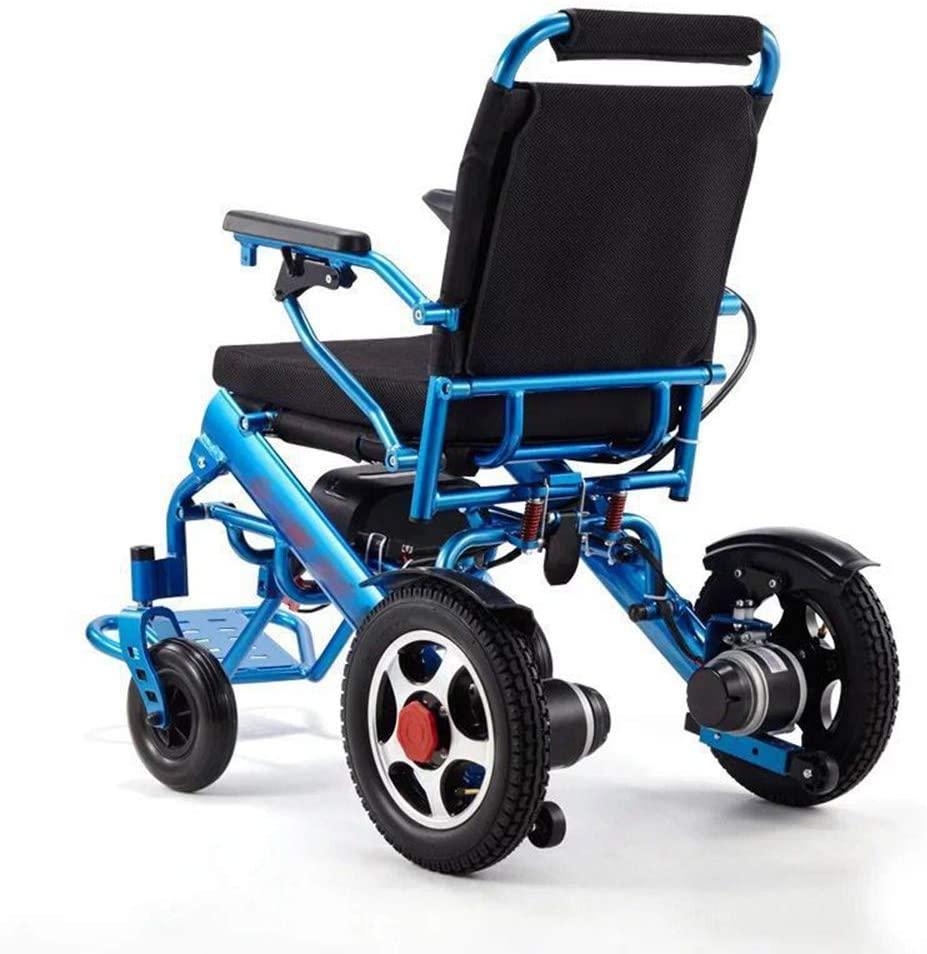 HHRen Folding Wheelchair Electric Fashion Lightweight Folding Electric Wheelchair Electromagnetic Brake 13A 24V Battery Disabled Elderly Walking Chair