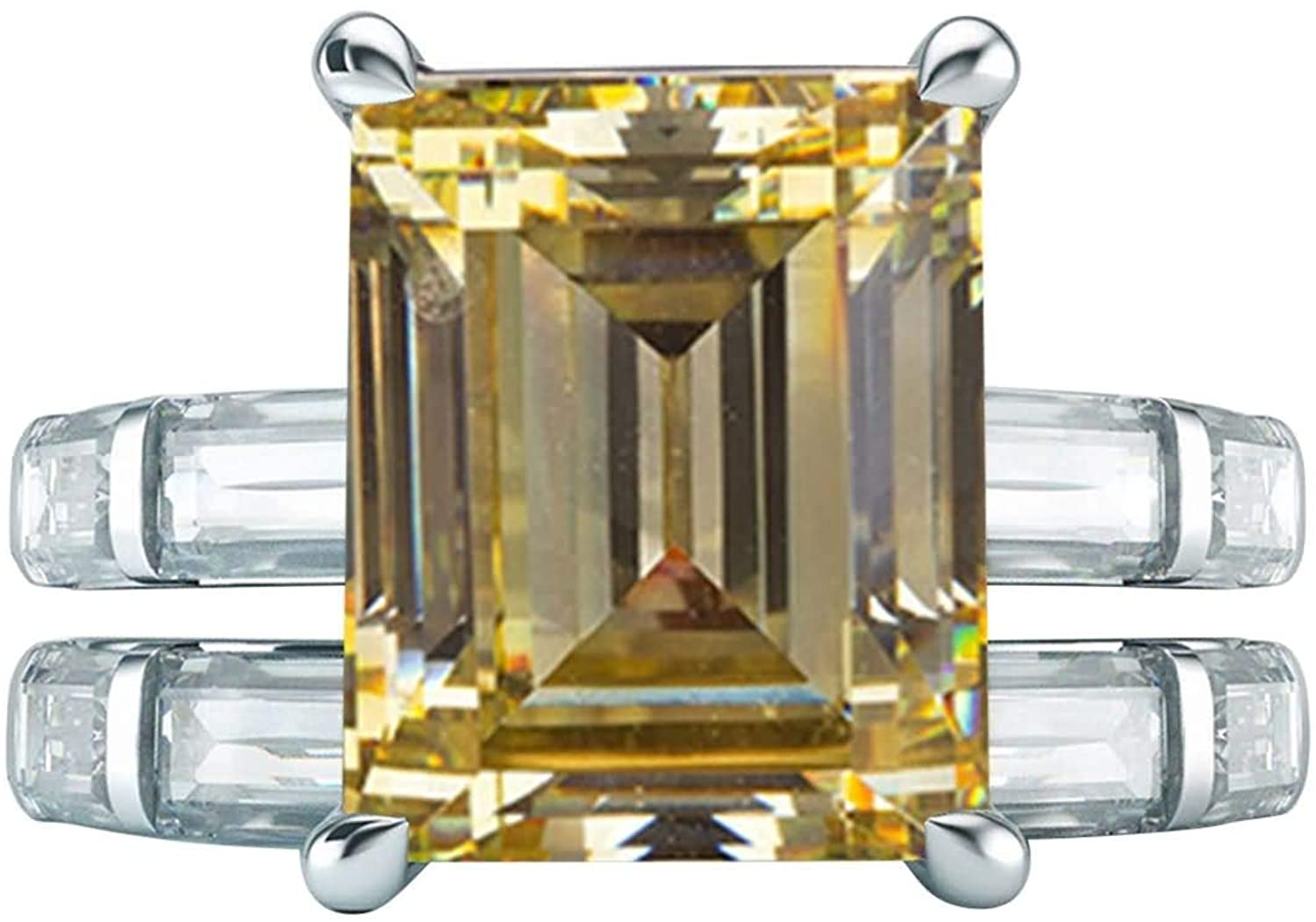 AMDXD Sterling Silver Rings Dainty Ring Set 4-Prong Rectangular Yellow Cubic Zirconia 8x10mm Promise Ring Band