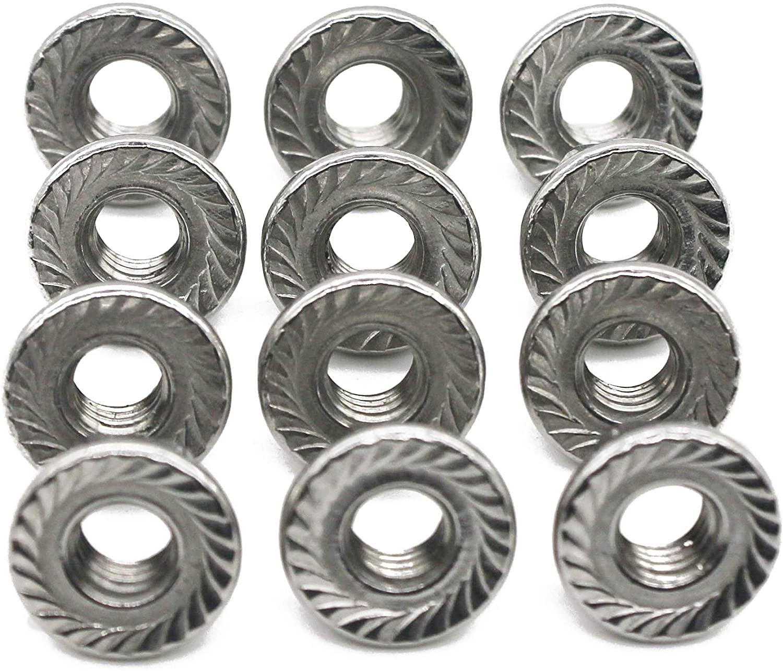 FullerKreg M4 x 0.7mm 304 Stainless Steel Serrated Hex Flange Lock Nuts (100 Pcs)