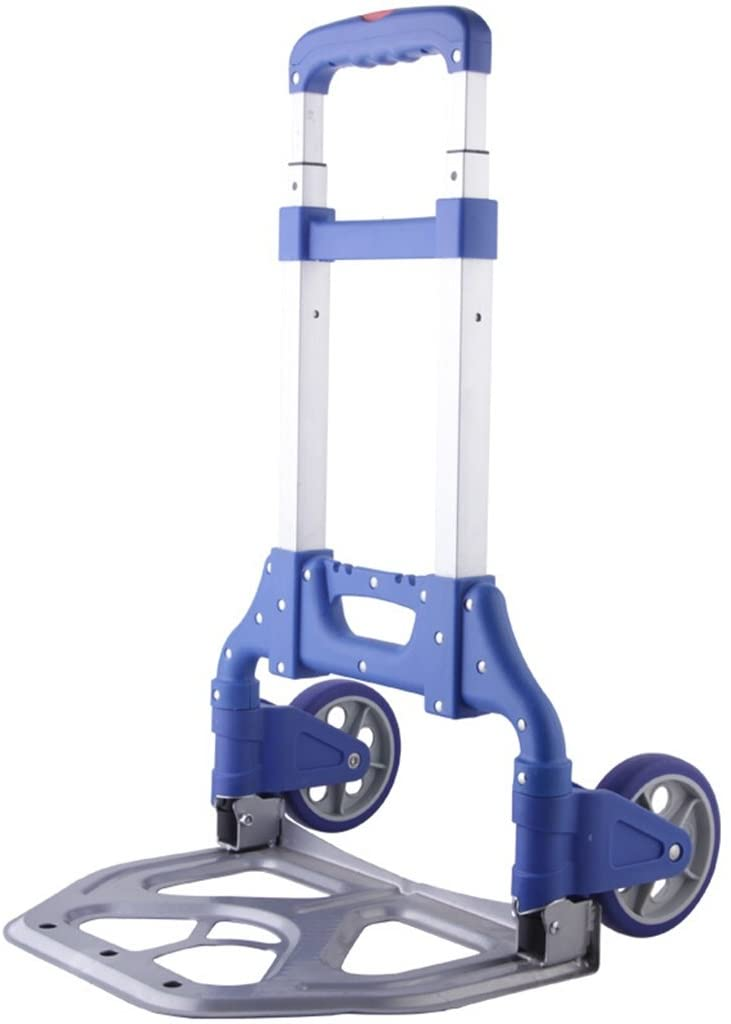 Hand Truck Luggage Cart Fold Trolley Shopping Cart Portable Shopping Cart Three Car Body Bearing About 70 Kg Black Blue Two Colors Optional Aluminum Alloy Small Cart Lever Car (Color : Blue)