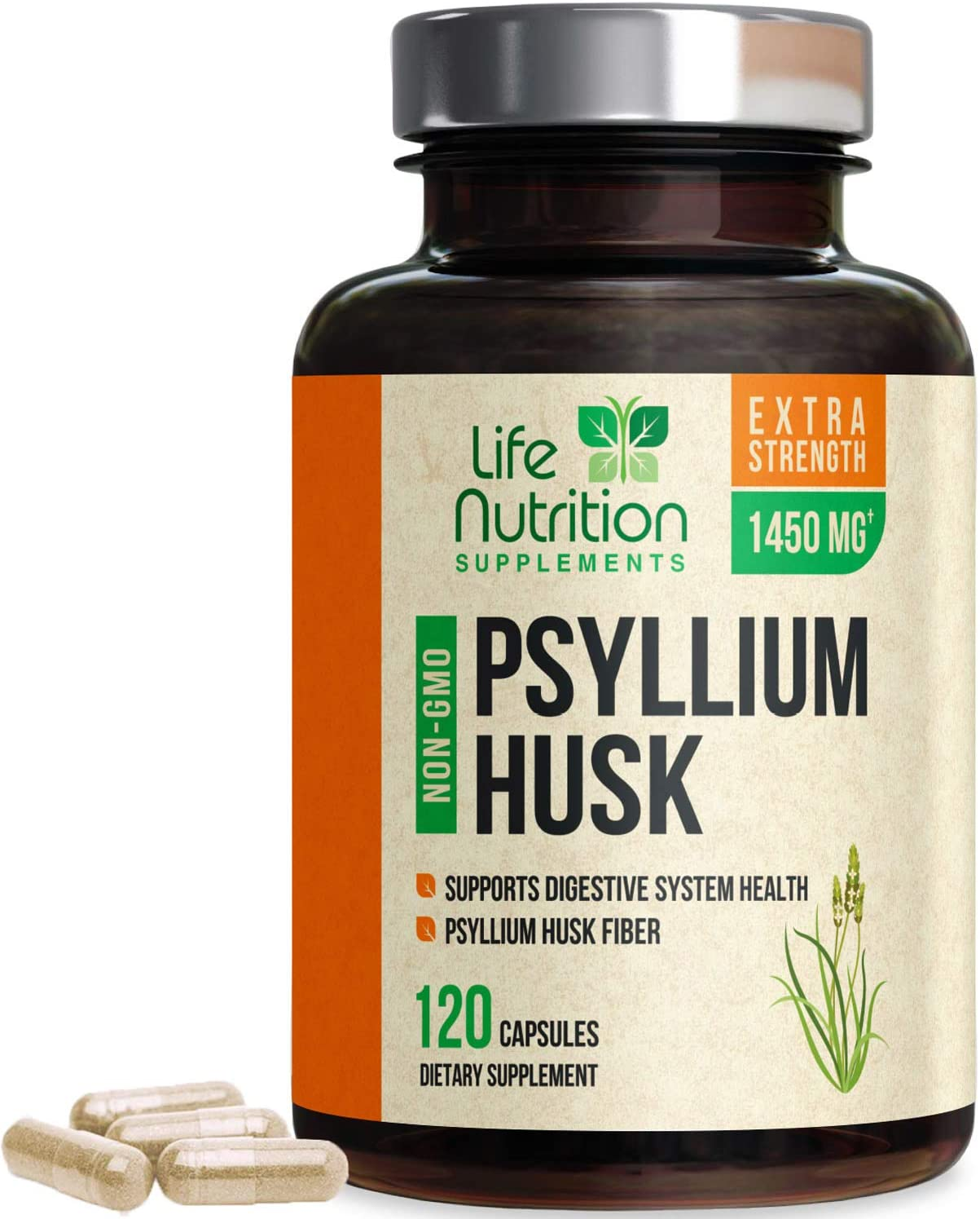 Psyllium Husk Capsules Natural Dietary Fiber 1450mg - Psyllium Powder Supplement - Made in USA - Best Water Soluble Pills, Helps Support Digestion & Regularity - 120 Capsules