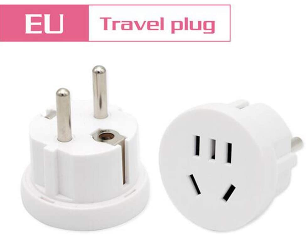 1PC US AU To EU Plug USA AUS To Euro Europe Travel Wall AC Power Plug Wall Charger Outlet Adapter Converter 2 Round Pin Socket,White
