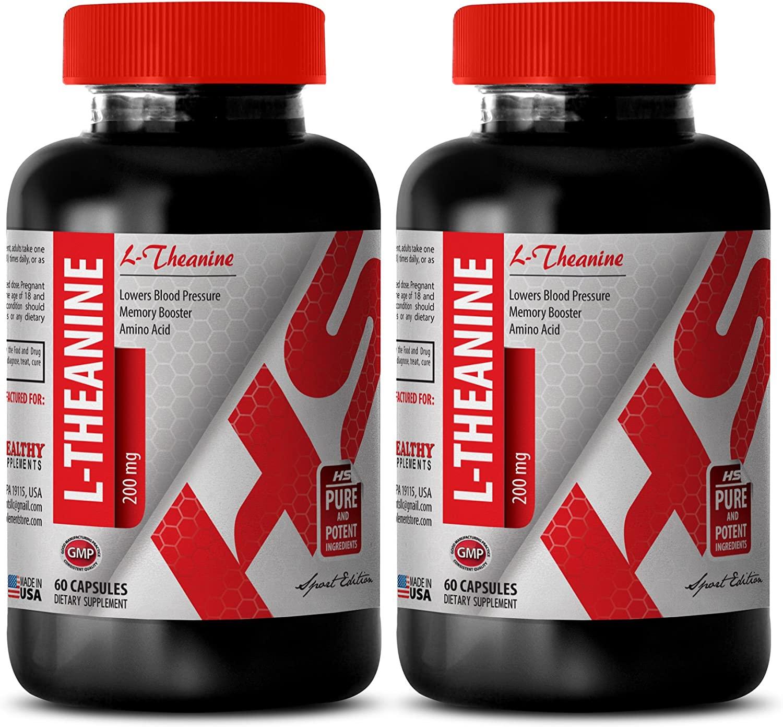 Blood Pressure Health - L-Theanine 200MG - antioxidant Formula - 2 Bottles (120 Capsules)