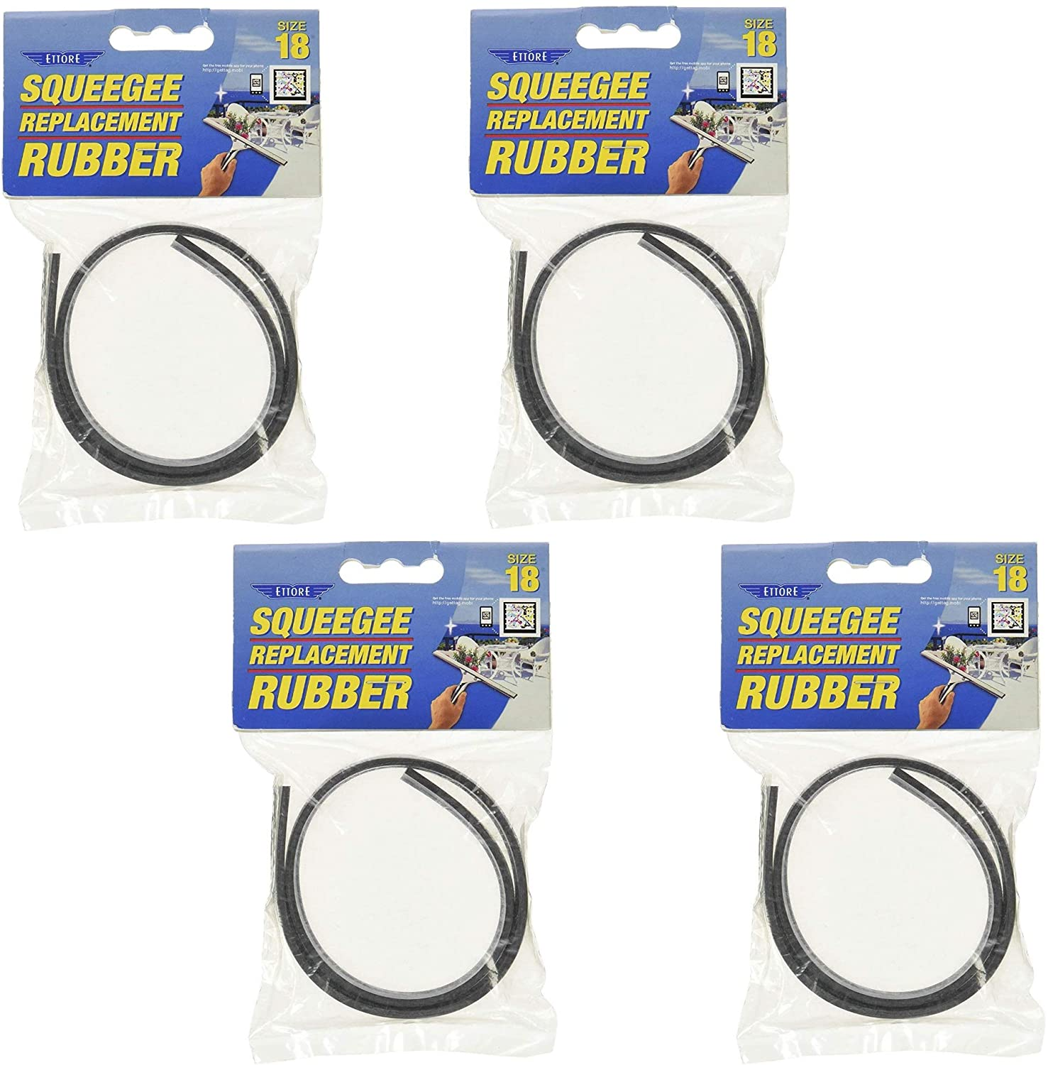 Ettore Replacement Squeegee Rubber, 18-Inch, 4 Pack