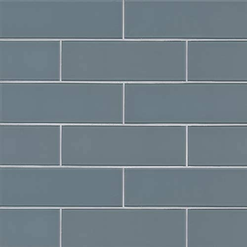 Harbor Gray 4x12 Glass Subway Tile, 15 SFT, (45 Pcs)