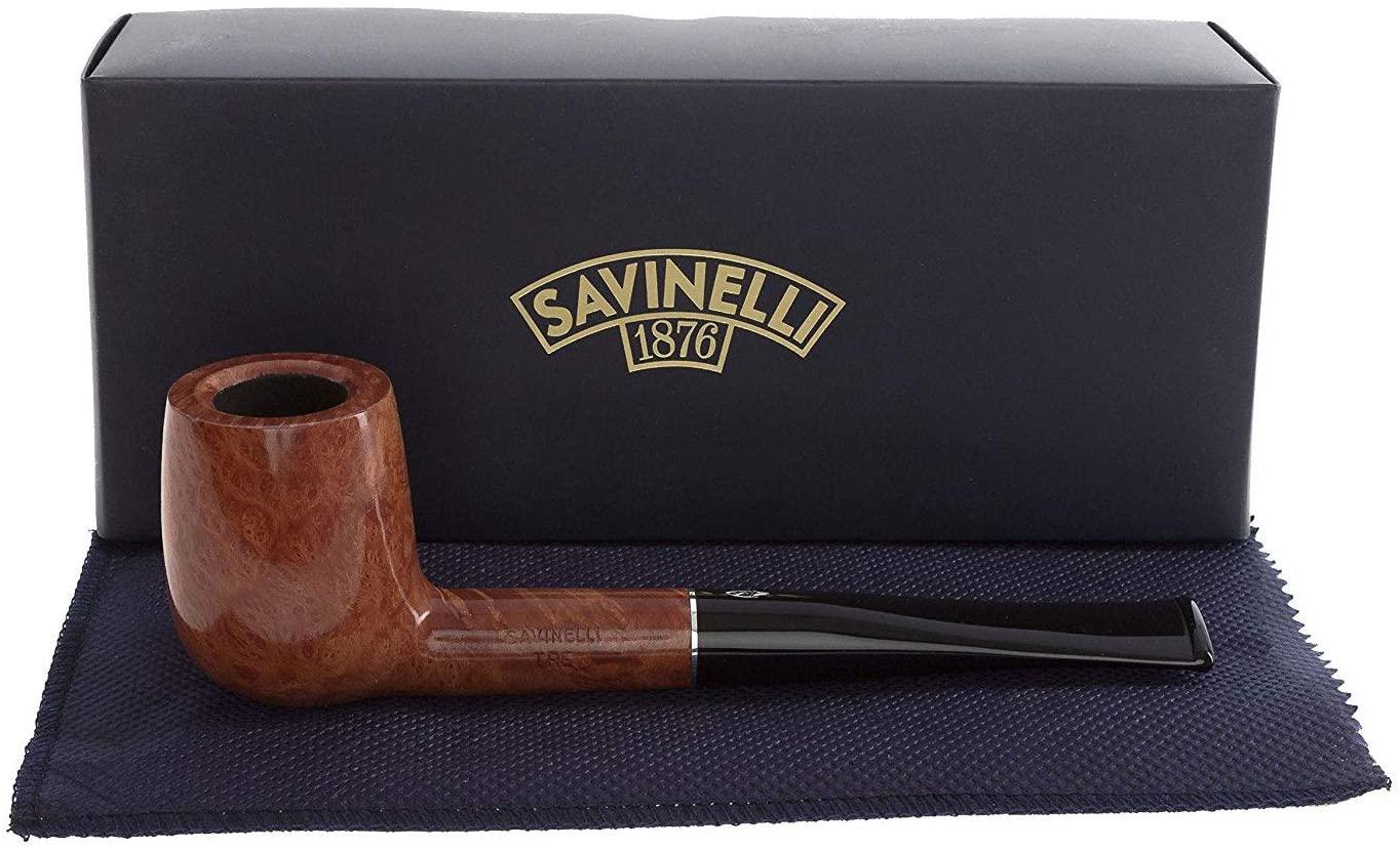 Savinelli Italian Tobacco Smoking Pipes, TRE Smooth 104