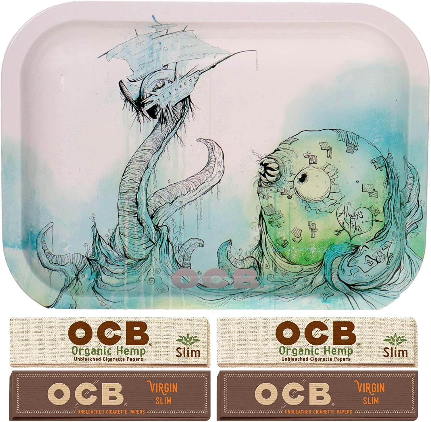 Small OCB Sea Monster Rolling Tray with 4 OCB Slim Papers…