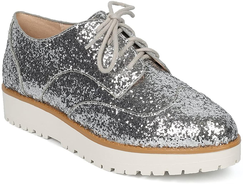 Alrisco Glitter Encrusted Lace Up Flatform Spectator Loafer HC97