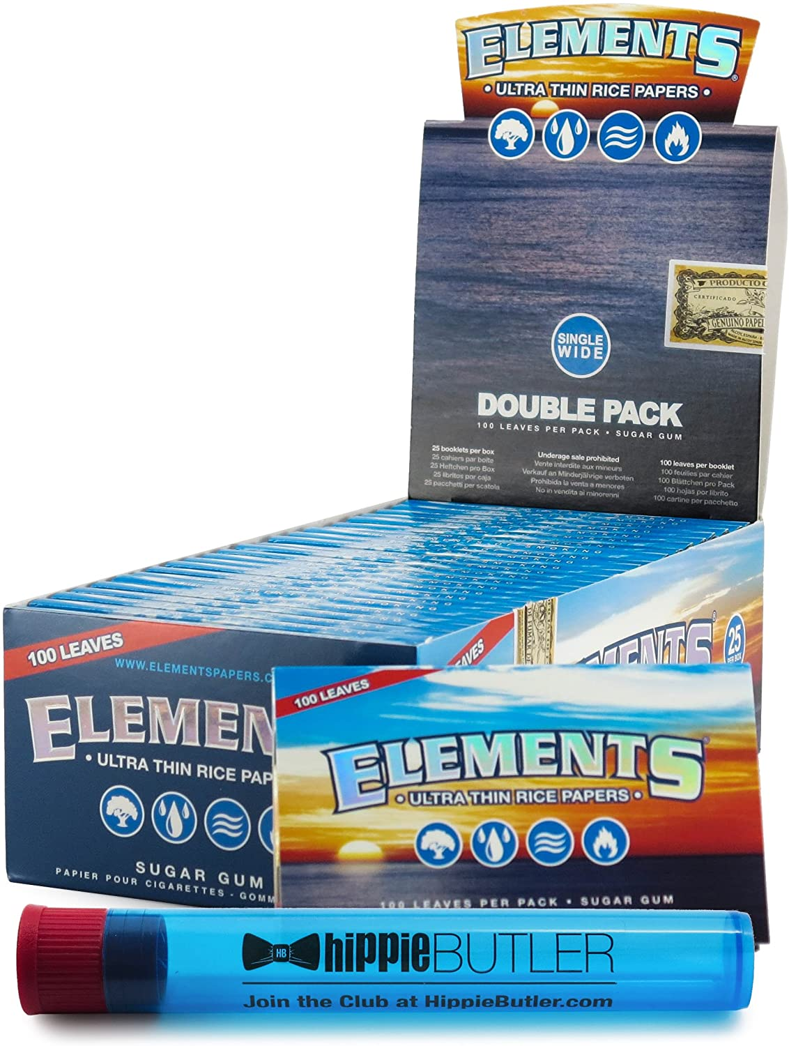 Elements Single Wide Rolling Papers (25 Packs/Box) with Hippie Butler KewlTube