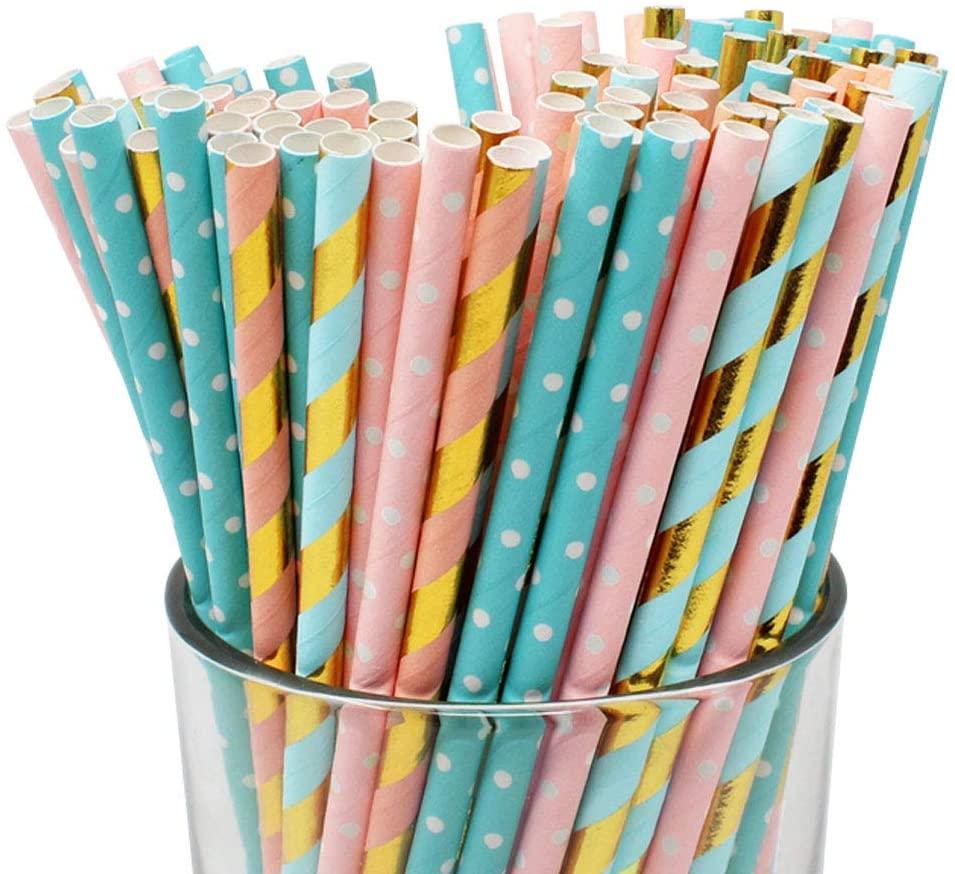 Just Artifacts Premium Biodegradable 100pcs Decorative Paper Straws (Color: Gender Reveal)