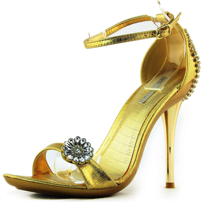 Women's Platform Open Toe Ankle Strap Crystal Evening Dress Bridal Sandals Fashion Shoes