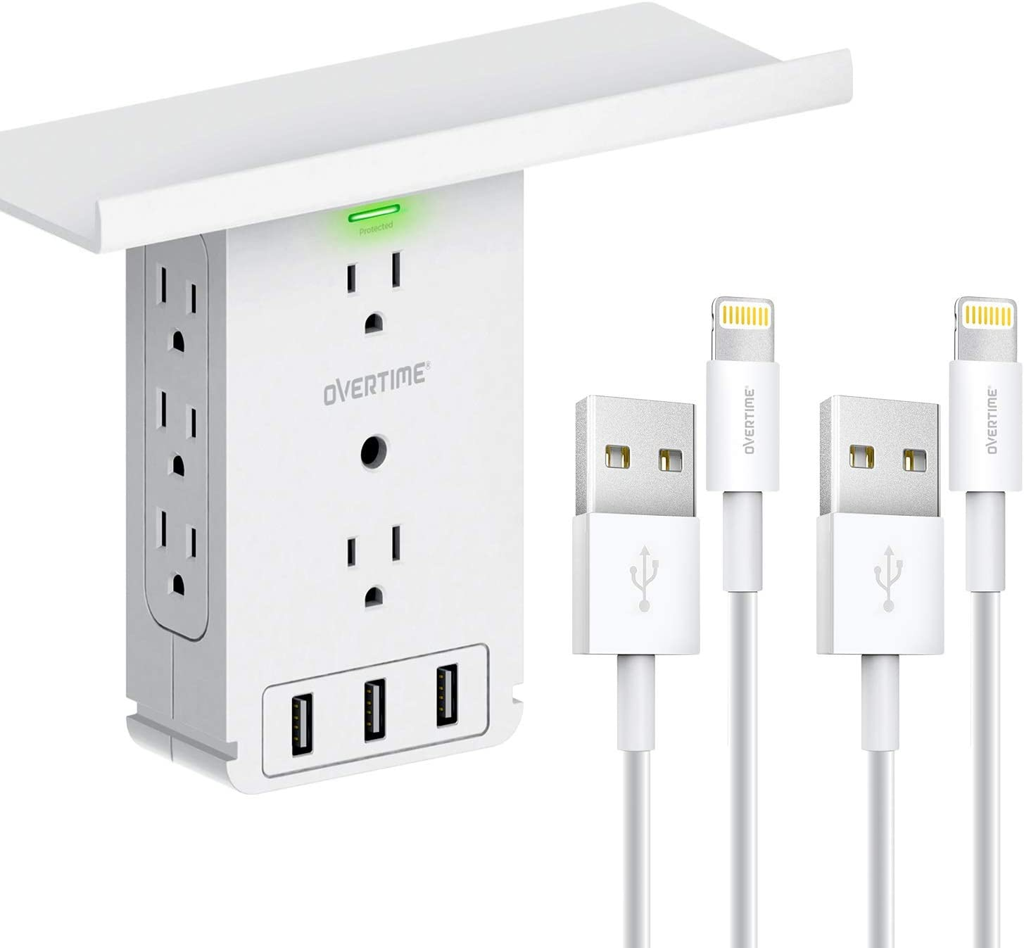 Socket Shelf Wall Outlet & [2-pack] 6ft Lightning Cable: Power Charger & Surge Protector, 8 AC Outlets, 3 USB Ports, Electrical Outlet Extender, Shelf Holder, MFi Certified Lightning Cable - White