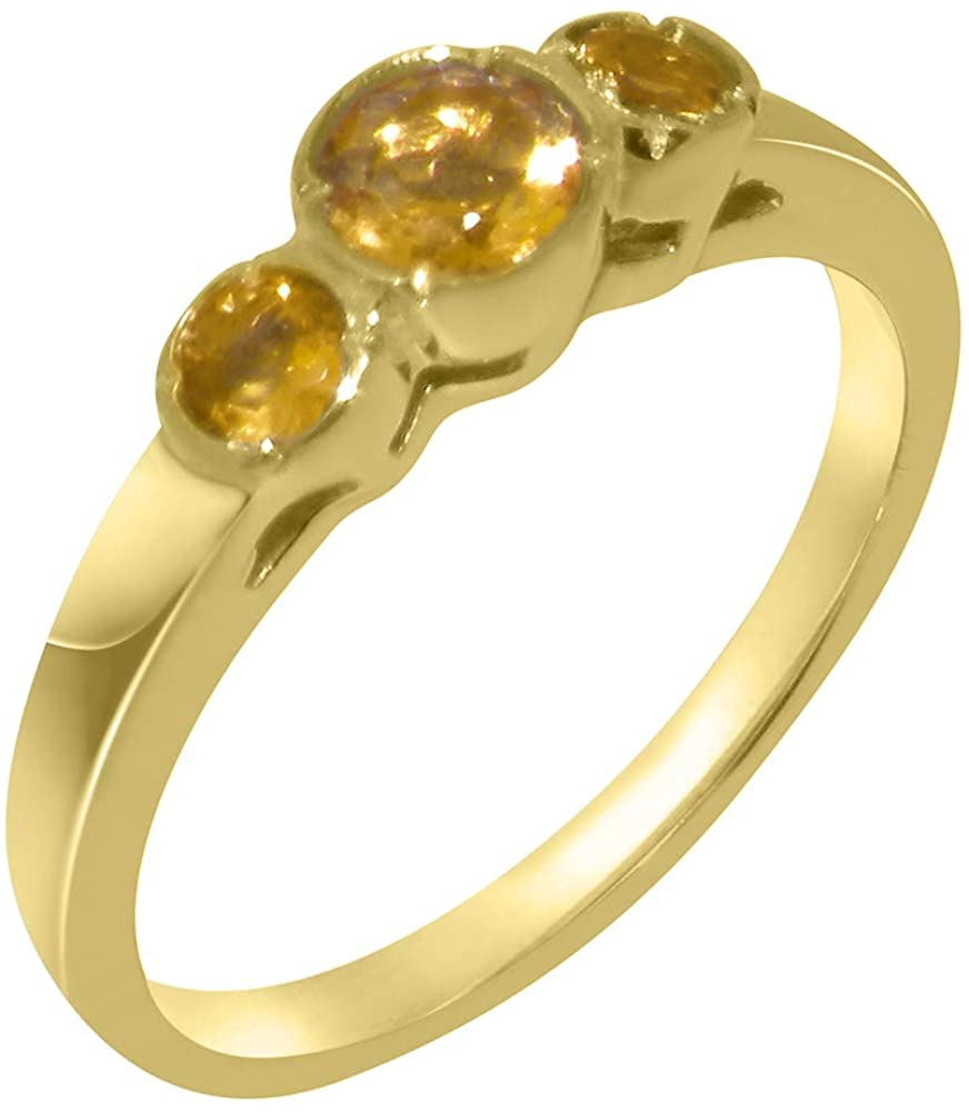 Solid 14k Yellow Gold Natural Citrine Womens Trilogy Ring - Sizes 4 to 12 Available