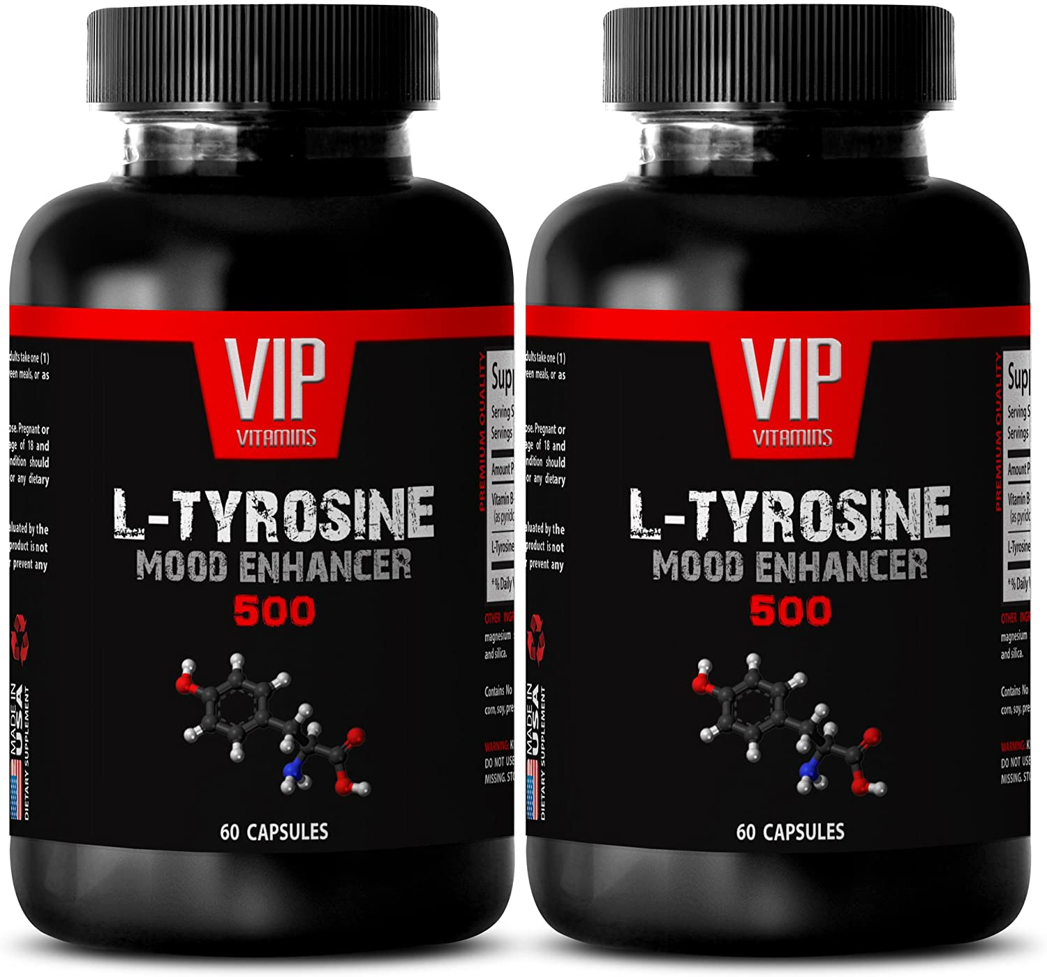 Blood Pressure Health - L Tyrosine 500MG - Blood Pressure Vitamins for Men - 2 Bottles (120 Capsules)