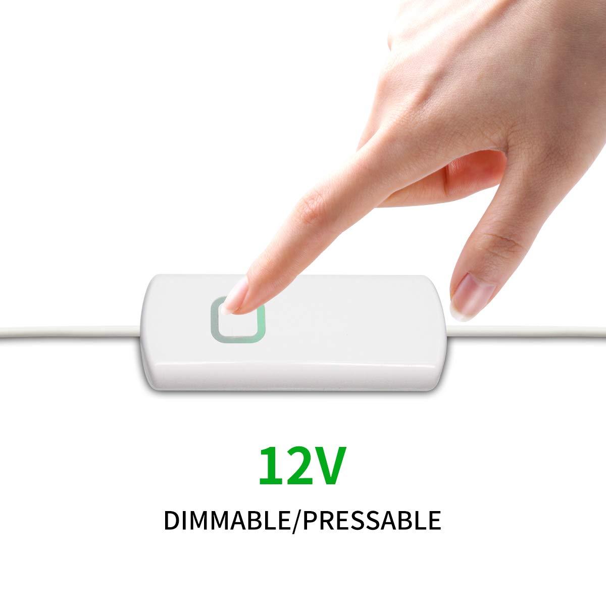 White Dimmer Switch for 12V Led Strip Lights Adjust Brightness Led Controller with Memory Function Smart Led Dimmer 1 Pack