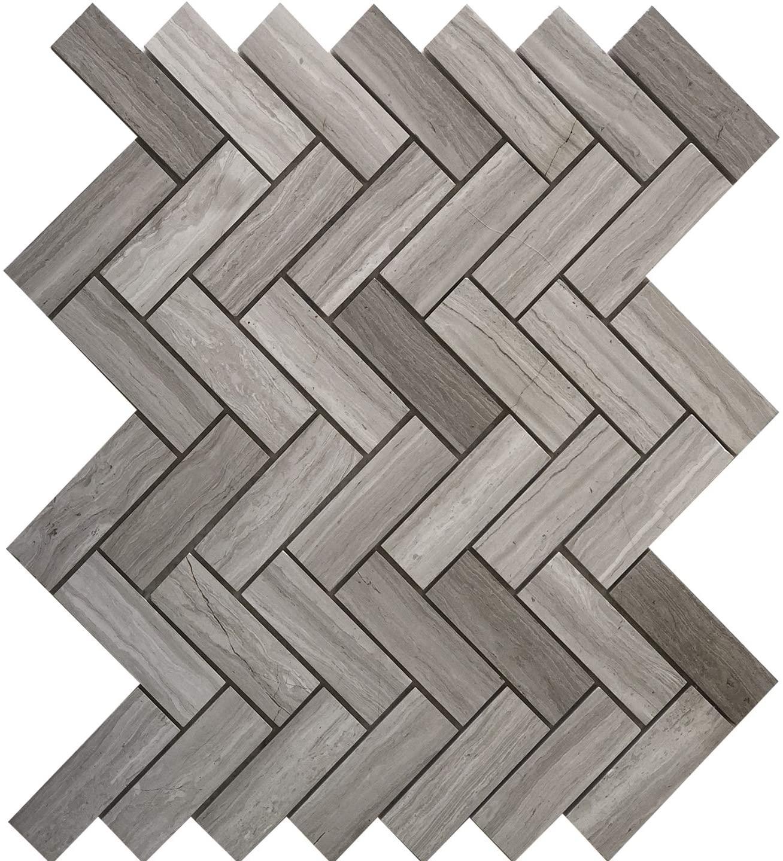 White Oak Herringbone Marble Mosaic Tile Sample