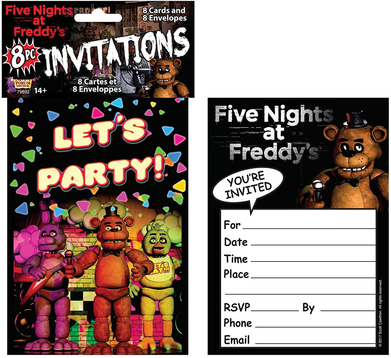 Forum Novelties Fnaf 8 Invitations, Multi-Color