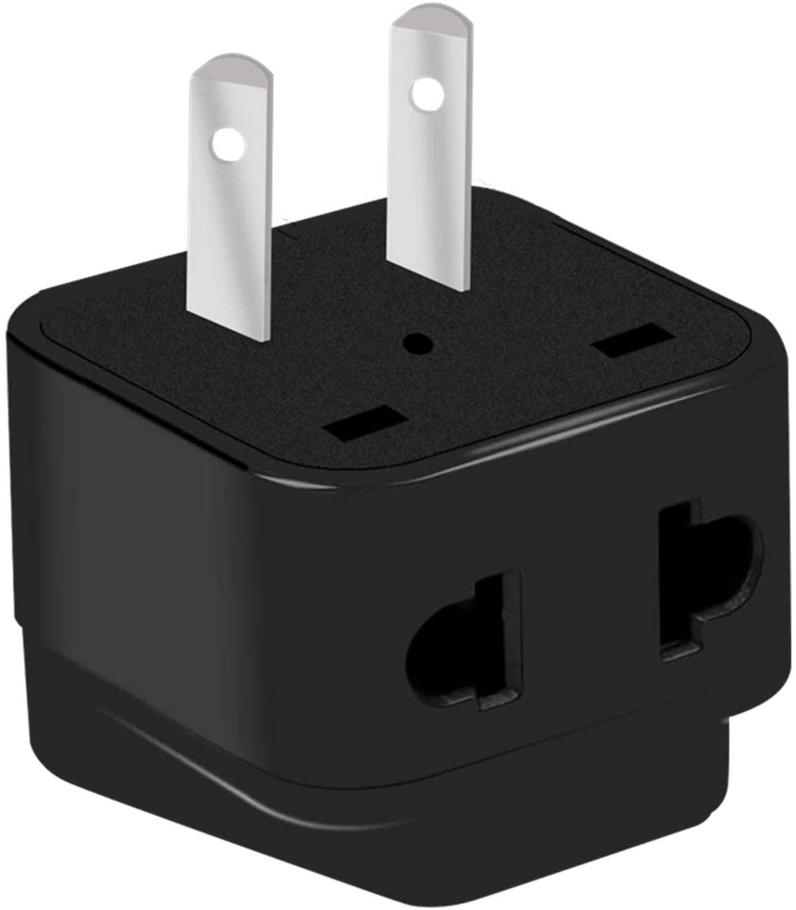 Japan Universal Travel Adapter,Worldwide Power Plug to NEMA 1-15P Plug,USA 2pin Plug to Universal Outlet Socket. (Black)