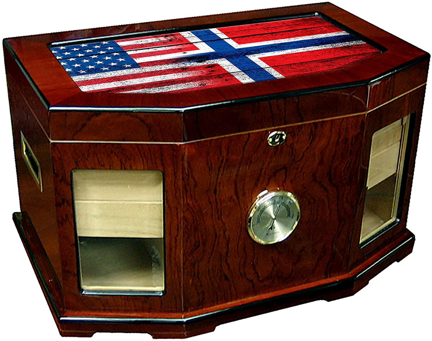 Large Premium Desktop Humidor - Glass Top - Flag of Norway (Norwegian) - Wood with USA Flag - 300 Cigar Capacity - Cedar Lined with Two humidifiers & Large Front Mounted Hygrometer.