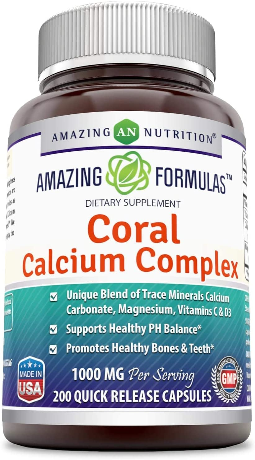 Amazing Nutrition Amazing Formulas Coral Calcium Complex Dietary Supplement - 1000 mg - 200 Quick Release Capsules - Promotes Healthy PH Balance - Supports Healthy Bones and Teet