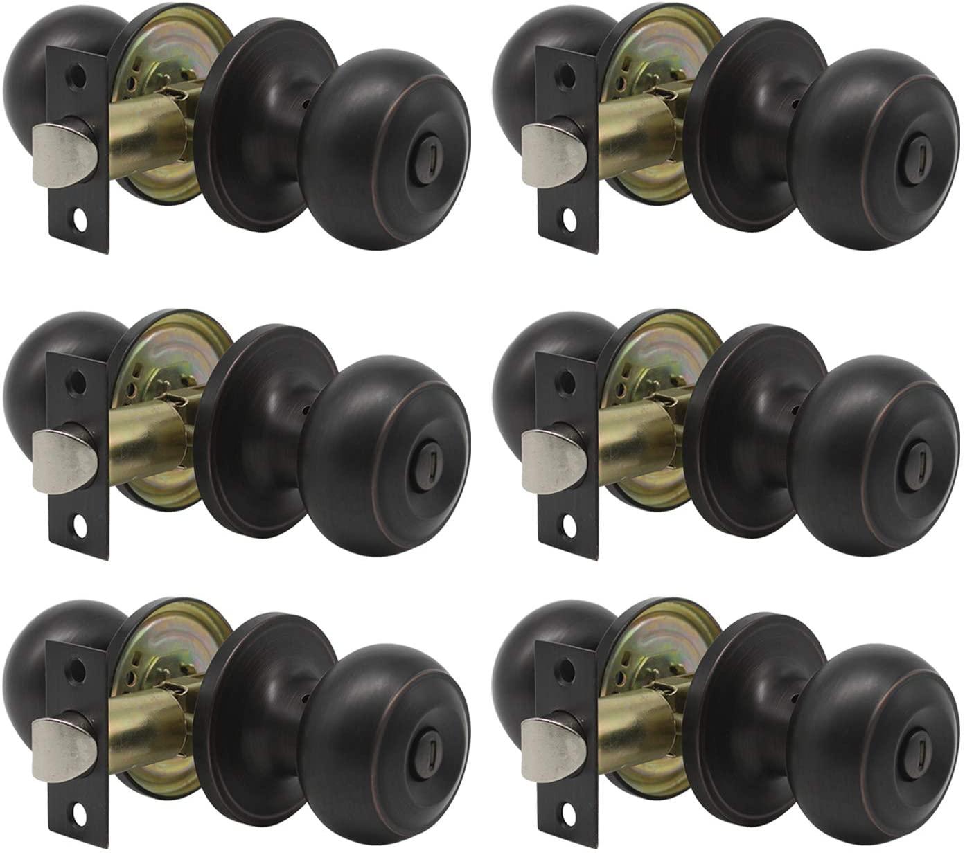 Gobrico 6 Pack Keyless Privacy Handles Flat Ball Door Knobs in Oil Rubbed Bronze Interior Door Locksets for Bed/Bathroom