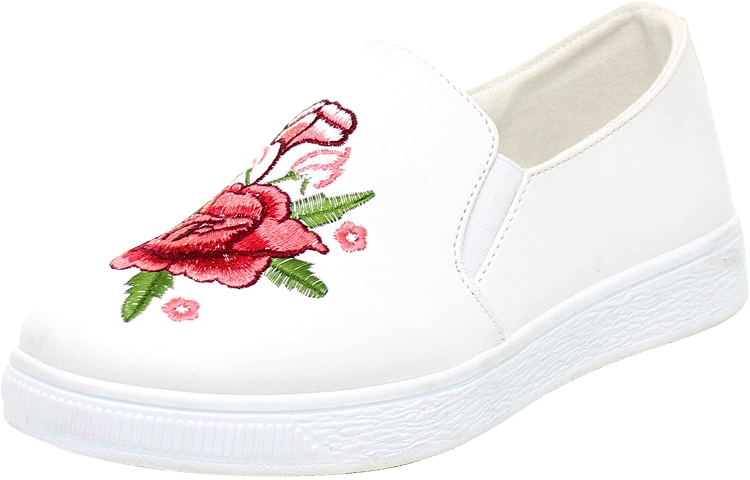 Cambridge Select Women's Floral Embroidered Stretch Slip-On Flatform Fashion Sneaker
