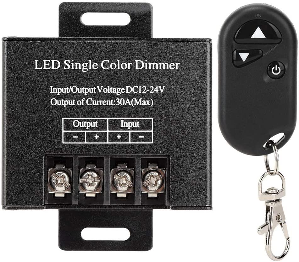 OKBY Dimmer RF Dimmer-DC12-24V 30A 750W 3 Keys RF Dimmer Wireless Remote Control Dimmer Light Controller