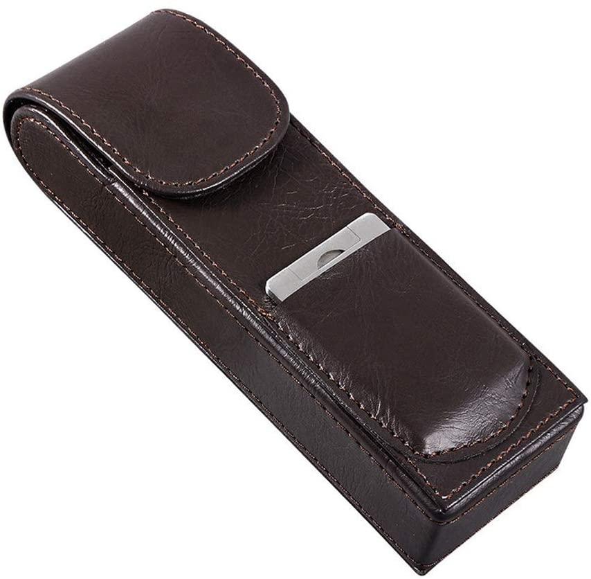 ZLSANVD Humidor Cigar Box Cigar Humidor Case, Cedar Wood Portable Cigar Travel Leather Humidor Box with Humidifier, Removable Cedar Tray (Black) Cigar Accessories