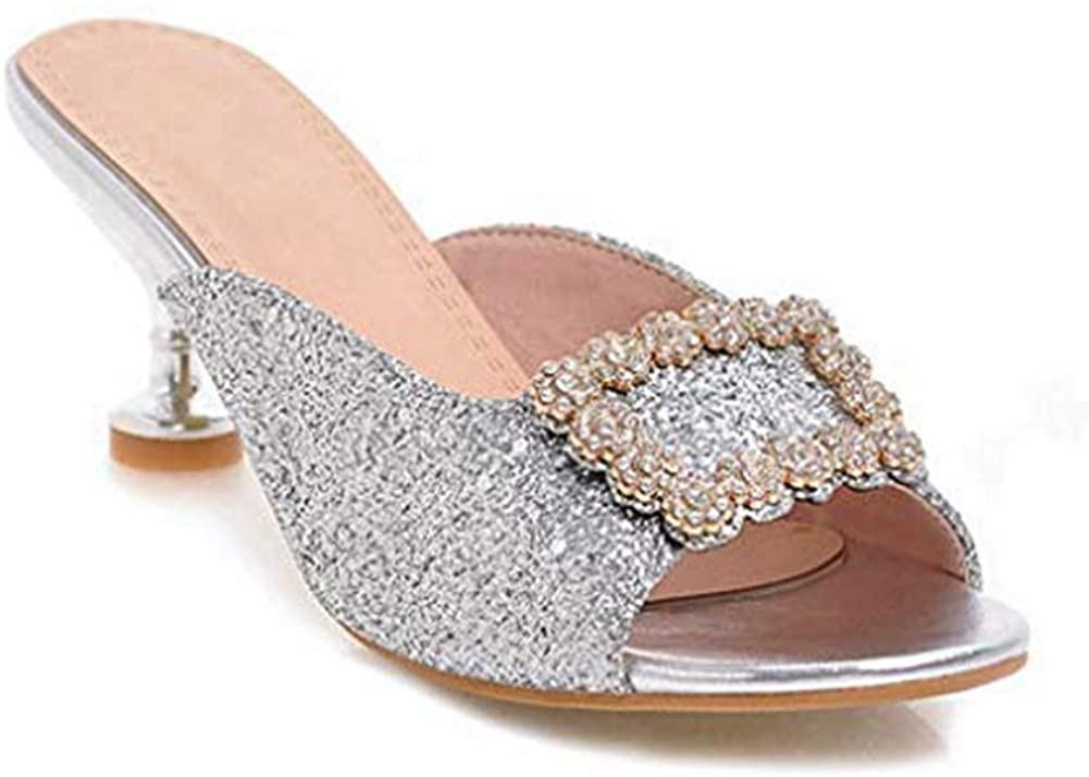 Ladies Rhinestone Flowers Sparkle Glitter Heels Slides Sandals Bling Slip on Dress Mules Clogs Pumps Shoes Women