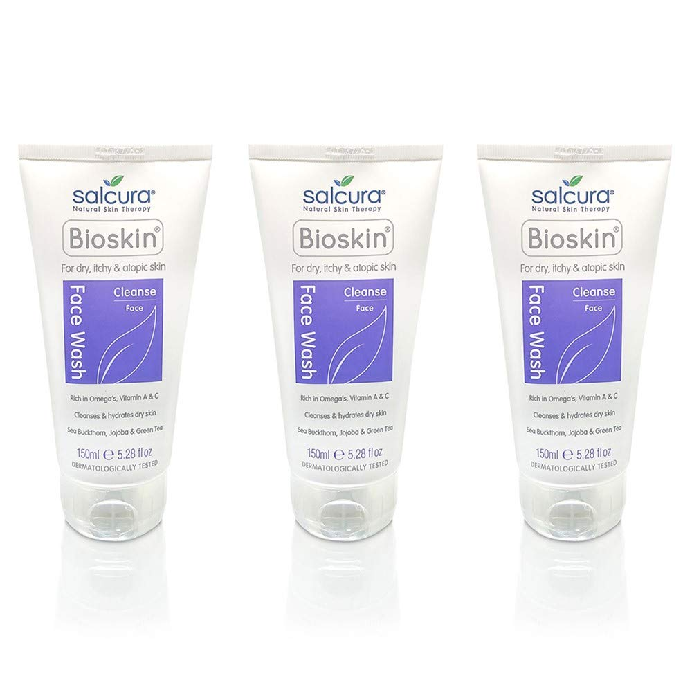 Salcura Natural Skin Therapy, Bioskin Face Wash Trio Pack, Natural Wash Cleansing All Impurities From Dry, Itchy & Sensitive Skin, Leaves The Skin Feeling Soft, Smooth & Nourished Trio 3 x 150ml