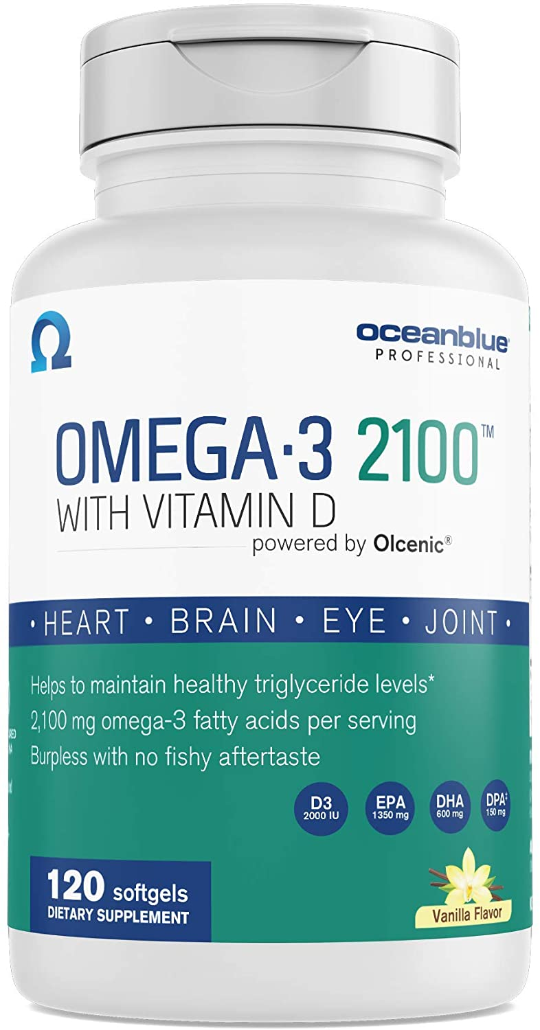 Oceanblue Omega-3 2100 with Vitamin D3 – 120 ct – Triple Strength Burpless Omega-3 Fish Oil Supplement with High-Concentration EPA and DHA, and Vitamin D3 – Wild-Caught – Vanilla Flavor (60 Servings)