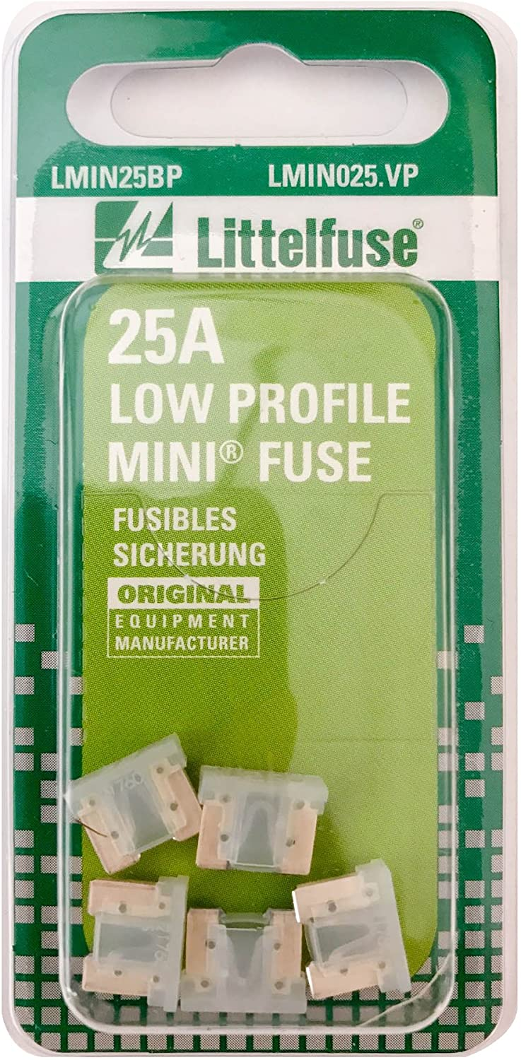 Littelfuse LMIN025.VP MINI Low Profile 25 Amp Carded Blade Fuse, (Pack of 5)