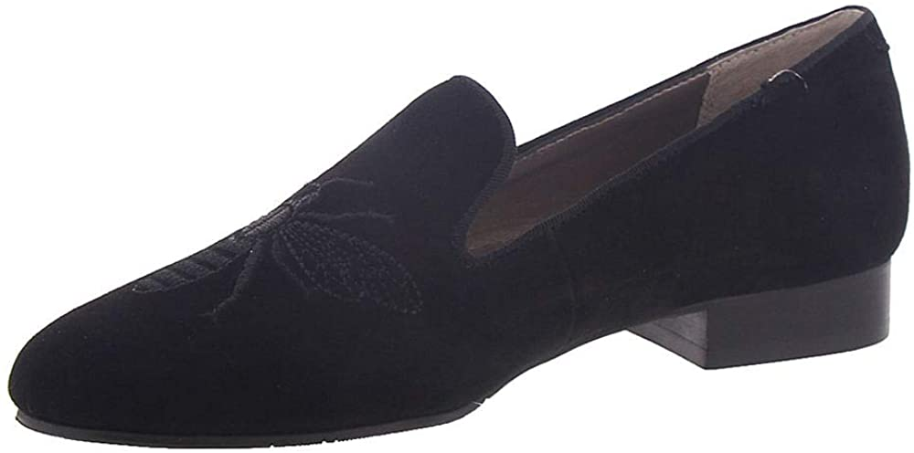 Array Womens Queen Bee Embroidered Suede Smoking Loafers Black 7.5 Medium (B,M)