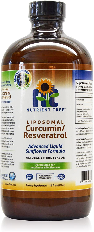 Nutrient Tree Liposomal Curcumin(Turmeric)/Resveratrol | 78 Doses | Alcohol Free | Non-Soy | Non-GMO | Made in USA