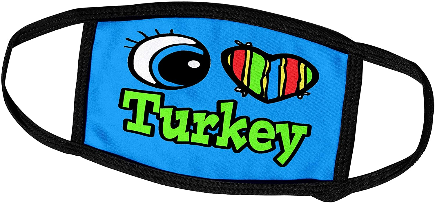 3dRose Dooni Designs Eye Heart I Love Designs - Bright Eye Heart I Love Turkey - Face Masks (fm_106665_3)