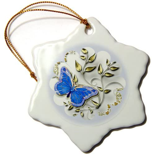 3dRose ORN_167071_1 Pretty Round Blue Frame, Butterfly and Golden Accents Snowflake Ornament, Porcelain, 3-Inch