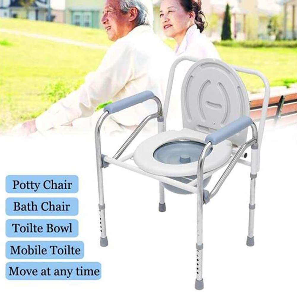 YLEI Bedside Commode, Commode Chair Portable Toilet Seat, Adjustable Height, Over Toilet and Bedside Commode, Comes with Splash Guard/Bucket/Lid, for Elderly Seniors, Pregnant Women