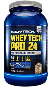BodyTech Whey Tech Pro 24 Protein Powder Protein Enzyme Blend with BCAA's to Fuel Muscle Growth Recovery, Ideal for PostWorkout Muscle Building Cookies Cream (2 Pound)