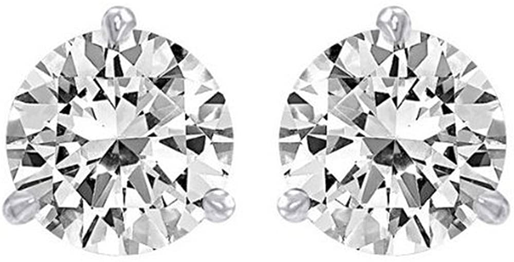 3/4 Carat Ideal Cut Diamond Stud Earrings 18K White Gold Round Brilliant Shape 3 Prong Push Back (I-J Color, SI1-SI2 Clarity)
