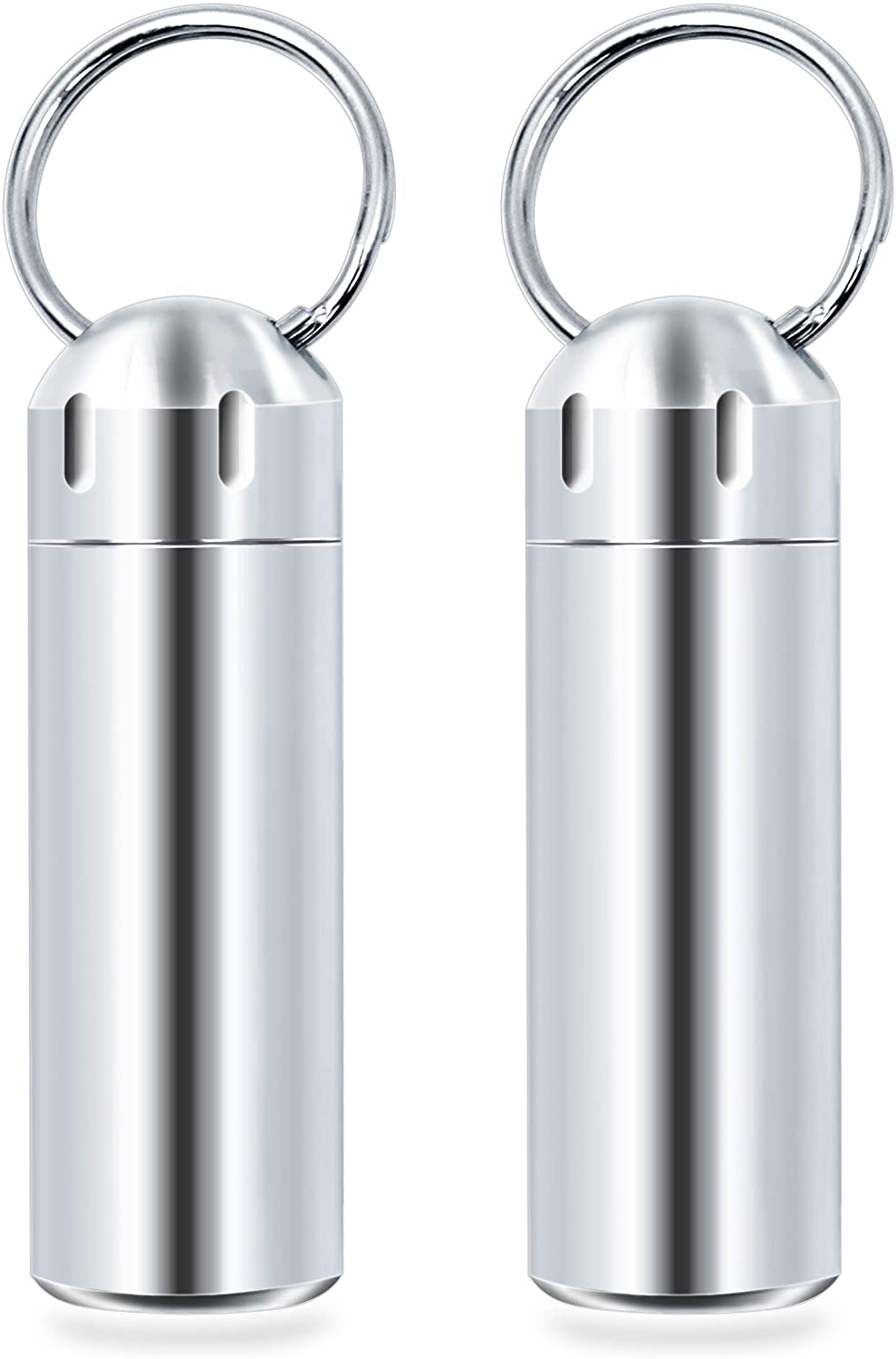 SHD 2 Pack Pill Container Keychain Pill Holder 100% Waterproof Pill Case Single Chamber Stainless Steel Pill Box (Silver)