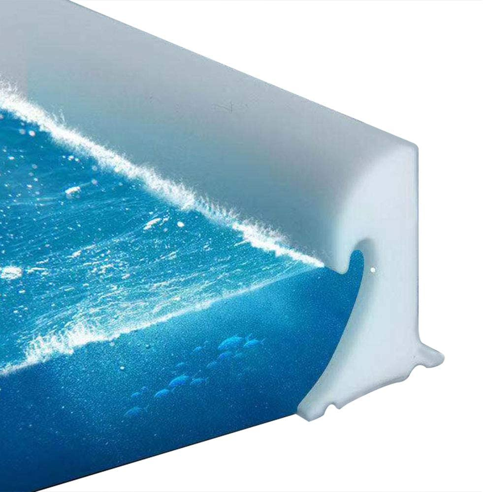 Bathroom Collapsible Threshold Water Dam with Ocean Wave Design Dry and Wet Separation (39 Inch)