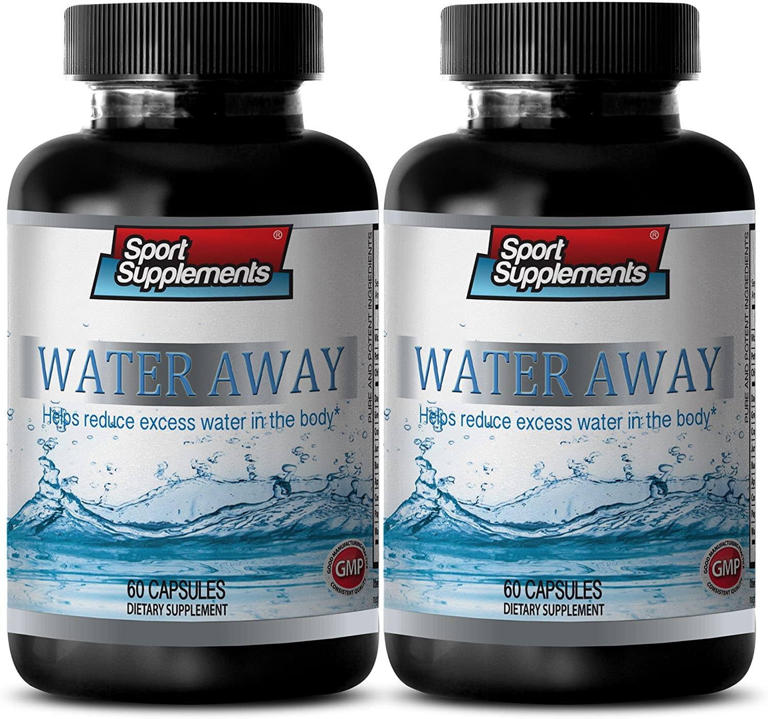 Urination Supplement - Water Away Natural Diuretic Complex - Watermelon - 2 Bottles 120 Capsules