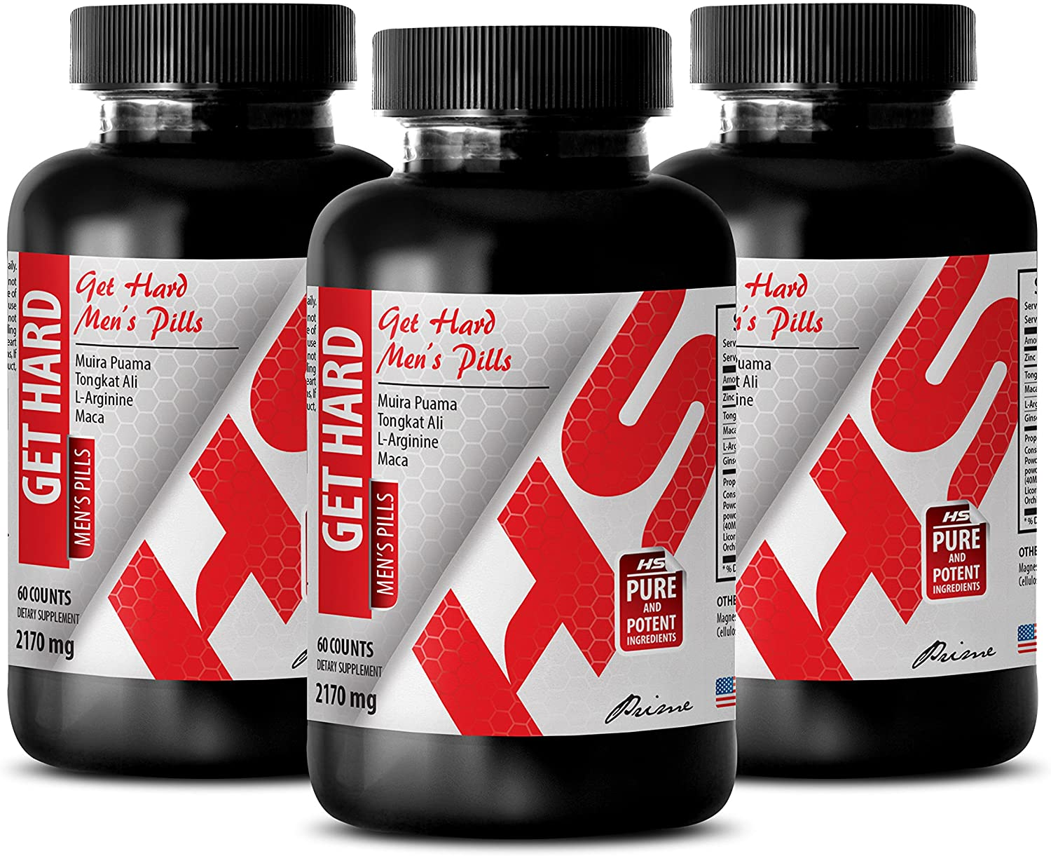 Testosterone Booster longjack - GET Hard - Mens Pills - maca Bulk Supplements - 3 Bottles (180 Capsules)